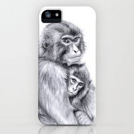 Snow monkey and baby iPhone Case