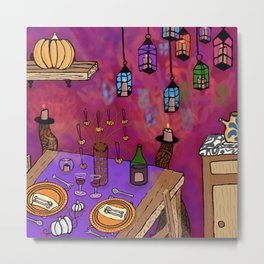 Autumn Table in Candlelight Metal Print