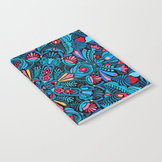 Pink, light blue floral mandala on black  Notebook