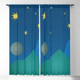 Colorful Imaginary Landscape at Night Blackout Curtain
