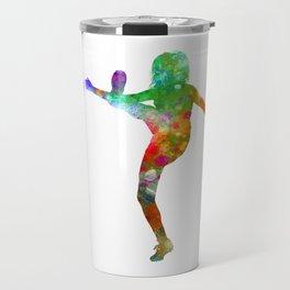 Woman soccer player 17 in watercolor Travel Mug