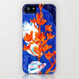 Warm blue, Girl and Orange flowers iPhone Case