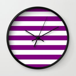 Horizontal Stripes (Purple/White) Wall Clock