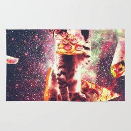 Space Cat Eating Pizza - Rainbow Laser Eyes, Burrito Rug