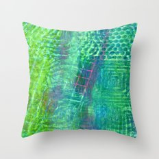 Textured green and pink Throw Pillow