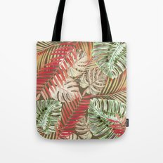 Jungle Tangle Red On Brown Tote Bag