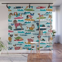 Surfing Dogs - cute summer tropical dogs surfing Wall Mural