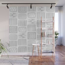 Retro Mid Century Modern Check Pattern 732 Gray Wall Mural