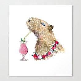 Capybara drinking strawberry milk cocktail Canvas Print
