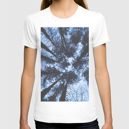 BLUE SERIES Looking Up At Trees, Blue wall-art, Nature, Forest, Trees, Photography T-shirt