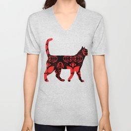 Red flower cat Unisex V-Neck