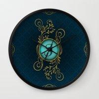 monogram Wall Clocks featuring Monogram J by Britta Glodde