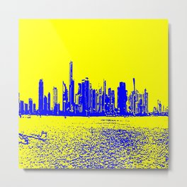 Miami yellow blue Metal Print