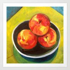 Three Peaches in a Bowl Art Print