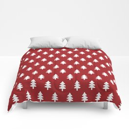 Hand drawn christmas red trees Comforters
