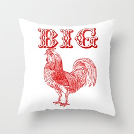 Big Red Rooster Humorous Print Throw Pillow