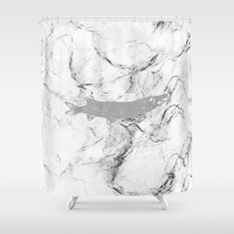 pike in the net (black and white) Shower Curtain