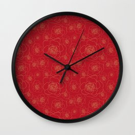 Golden Roses on Red Wall Clock