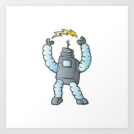 cartoon blue eletric robot Art Print