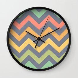 Multicolored Chevron Pattern Wall Clock