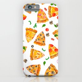 Watercolor Pizza Fast Food Pattern iPhone Case