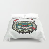 pagan Duvet Covers featuring Traditional Croatian carnival mask from the region around Rijeka by mangulica