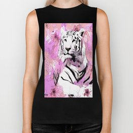 TIGER WHITE WITH CHERRY BLOSSOMS PINK Biker Tank