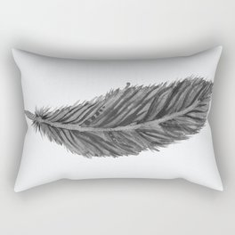 Long Feather - black and white Rectangular Pillow