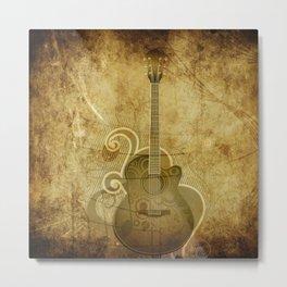 Vintage Acoustic Guitar Metal Print