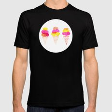 Colorful water color Ice Cream cone illustration pattern Mens Fitted Tee Black MEDIUM