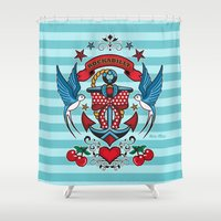 rockabilly Shower Curtains featuring Rockabilly Style No.1 by nice illus