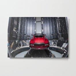 Tesla Roadster Going To Space Metal Print