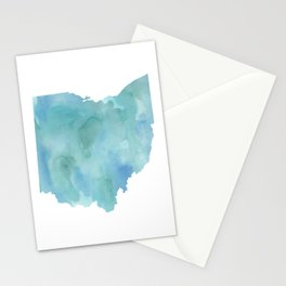 Watercolor State Map - Ohio OH blue green Stationery Cards