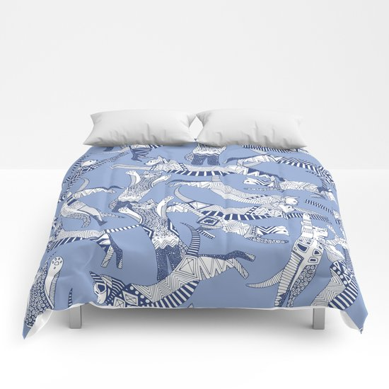 cat party blue Comforters