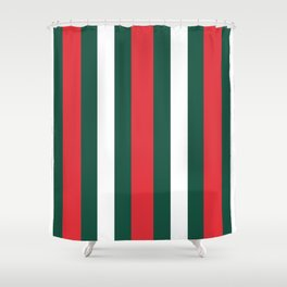 Italy Flag Stripes Green Red Stripped Print Shower Curtain