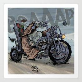 Whale Biker - colour Art Print