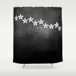 Spectacular silver flowers on black grunge texture Shower Curtain