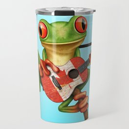 Tree Frog Playing Acoustic Guitar with Flag of Canada Travel Mug