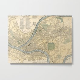 Vintage Map of Pittsburgh PA (1891) Metal Print