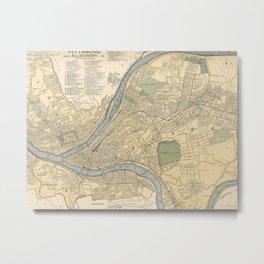 Vintage Map of Pittsburgh PA (1891) Metal Print