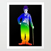 chaplin Art Prints featuring Chaplin by PsychoBudgie