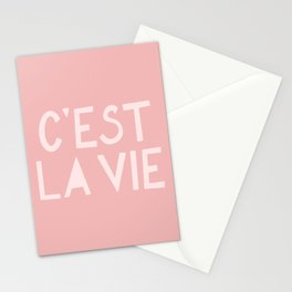 C'est La Vie French Pink Hand Lettering Stationery Cards
