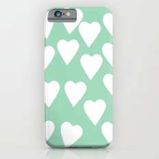 Mint Hearts iPhone 6s Slim Case