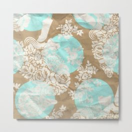 Pattern blue and Flowers Metal Print