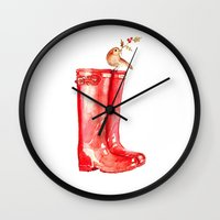 craftberrybush Wall Clocks featuring Red Christmas Boot by craftberrybush