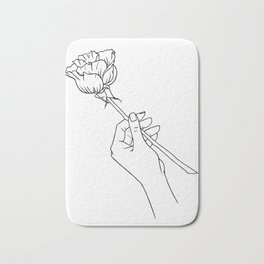 Rose in Hand Bath Mat