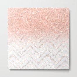 Faux salmon gold glitter ombre modern chevron pattern Metal Print