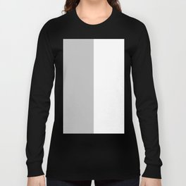 White and Silver Gray Vertical Halves Long Sleeve T-shirt