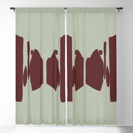 Echo Of Love - Mid-Century Minimalist Graphic Green Blackout Curtain