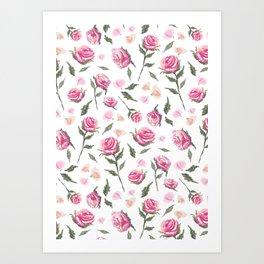 Romantic Shabby Chic Pink Roses Girly Pretty Pattern Art Print